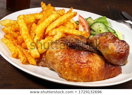 Chicken and Potatoes, Fresh Salad from Vegetables Stock photo © robuart