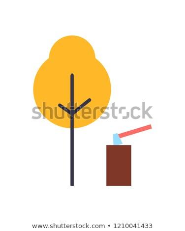 Autumn Tree, Ax in Stump Landscape Vector Set Stock photo © robuart