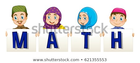Muslim family holding sign for word math Stock photo © colematt