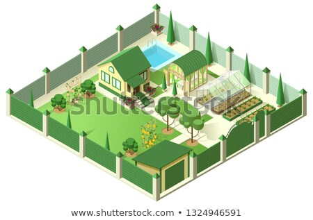 private house yard with plot of land behind high fence isometric 3d illustration stock photo © orensila