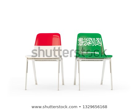 Two chairs with flags of Indonesia and saudi arabia Stock photo © MikhailMishchenko