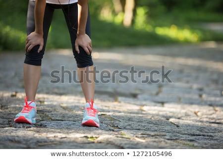 Fáradt futó izzadás fut vidék út Stock fotó © galitskaya