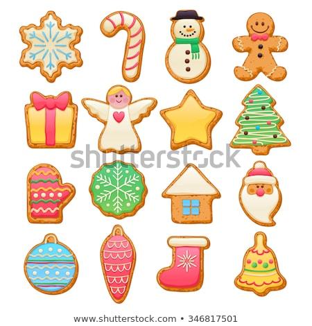 Peperkoek cookies man harten iconen geïsoleerd Stockfoto © robuart