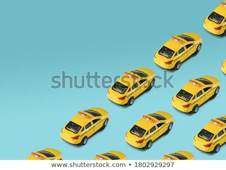 taxi services mobile app with cute yellow cab stock photo © tashatuvango