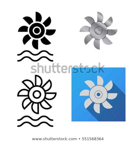 eau · turbine · icône · blanc · noir · signe · noir - photo stock © angelp