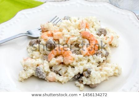 Finom tengeri hal gomba rizottó garnélák parmezán sajt Stock fotó © karandaev