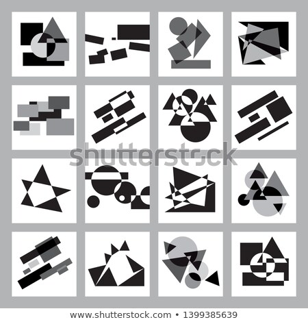 Transformation of black, gray and white geometric shapes on a sheet plane. Stock photo © Glasaigh