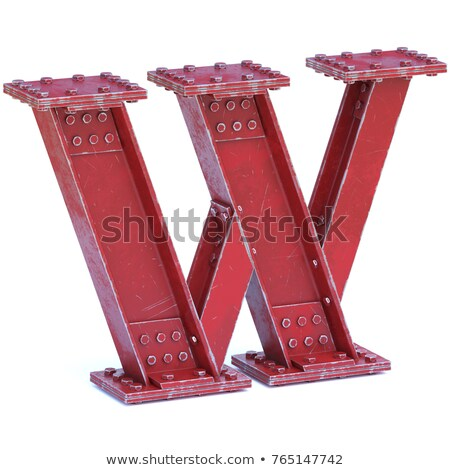 rusty metal font letter w 3d stock photo © djmilic