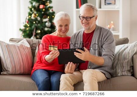 Familie · digitalen · Tablet · Weihnachten · glücklich · Mutter - stock foto © dolgachov