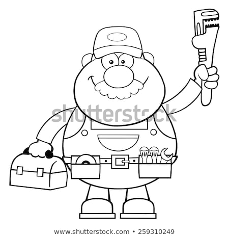 black and white mechanic cartoon character with wrench and tool box stock photo © hittoon
