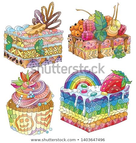 Vector piece of cake with strawberry and abstract ornaments. Stock photo © Natalia_1947