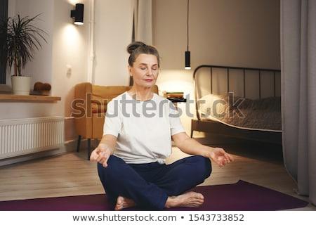 csinos · nő · jóga · meditáció · lótusz · pozició · zöld · fű - stock fotó © anna_om