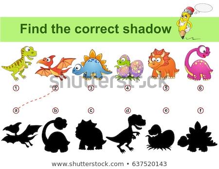 Dinozaur cień dopasowywanie gry ilustracja projektu Zdjęcia stock © colematt