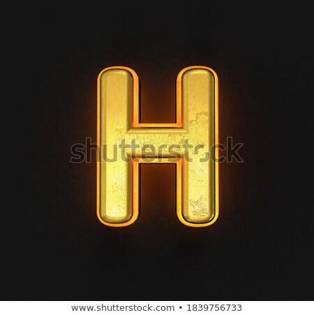 Black outline font Letter H 3D Stock photo © djmilic