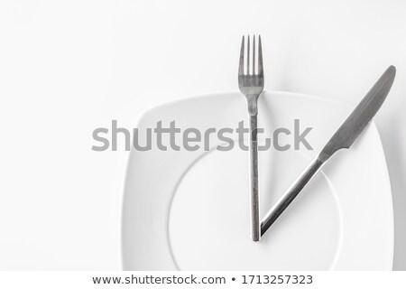 Clock Knife Fork Stainless Steel Flatware Stock photo © limbi007