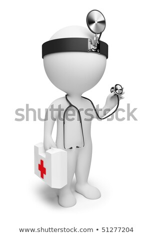 3d small people   doctor with stethoscope stock photo © anatolym