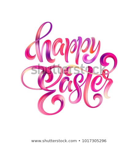 Happy Easter greeting card with egg and lettering Stock photo © marish
