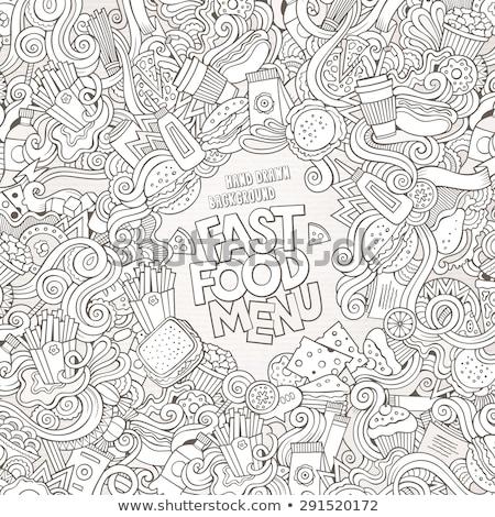 Fastfood hand drawn vector doodles illustration. Fast food frame card design Stock photo © balabolka