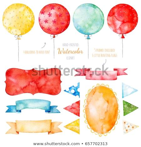 Witte papier banner ballonnen brieven gekleurd Stockfoto © limbi007