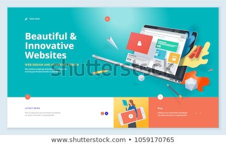 Reszponzív web design leszállás oldal mobil app Stock fotó © RAStudio