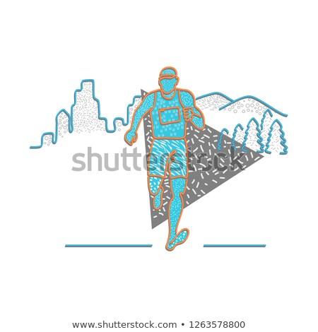Marathon Runner Memphis Style Stock photo © patrimonio