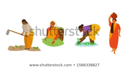 woman with farming basket vector illustration stock photo © robuart