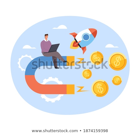 Crowdfunding Web, Coin and Magnet Online Vector Stock photo © robuart