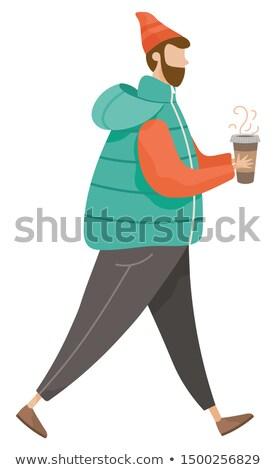 человека ходьбе только горячий напиток кофе Сток-фото © robuart