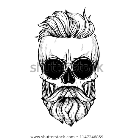 Crâne moustaches barbe fleurs ruban ligne Photo stock © netkov1