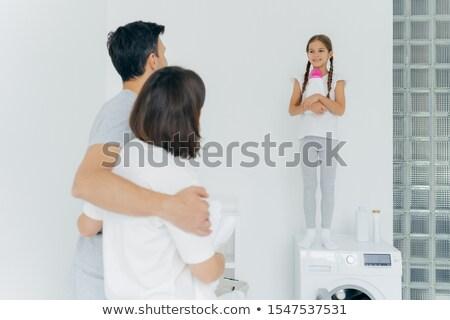 Hátulnézet férj feleség átölel beszéd kicsi Stock fotó © vkstudio