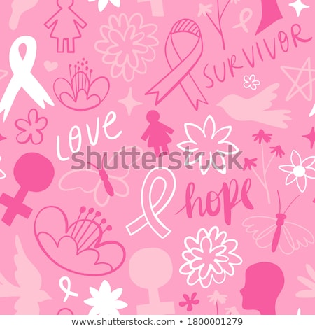 Breast cancer awareness pink flower butterfly stock photo © cienpies