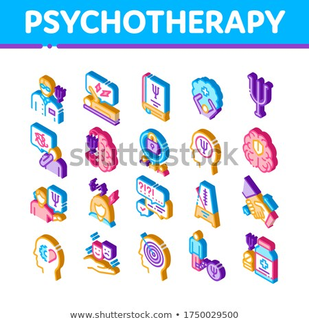 Psychotherapy Help Isometric Icons Set Vector Stock photo © pikepicture