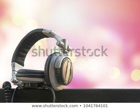 Słuchawki hip hop kabel biały muzyki radio Zdjęcia stock © goir