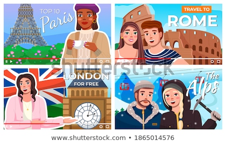 Vector video player interface. Screensaver of interview of a young girl about Paris. Traveling blog Stock photo © robuart