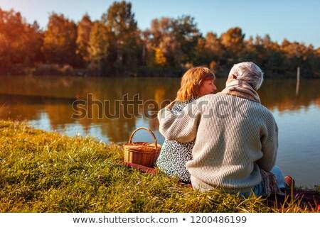 casal · sessão · grama · fruto · cesta · comida - foto stock © photography33