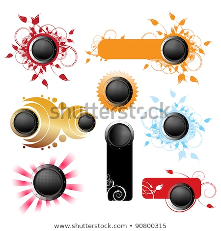 Vector shiny buttonset with colorfull grunge floral elements on a dark background. Stock photo © articular