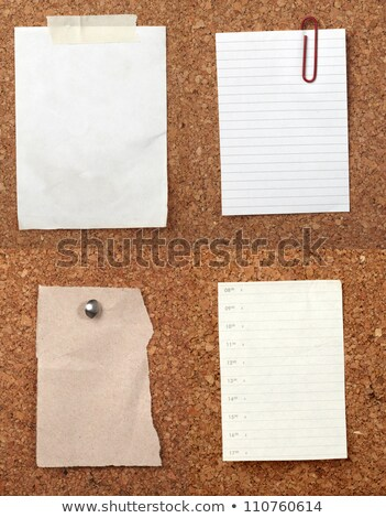 Old stained paper on a cork noticeboard. Stock photo © latent