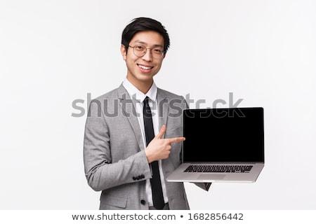 elegante · zakenman · wijzend · computer · portret · computerscherm - stockfoto © pablocalvog