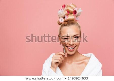 Szépség fiatal mosolygó nő fürdőköpeny göndör fürdő Stock fotó © ia_64