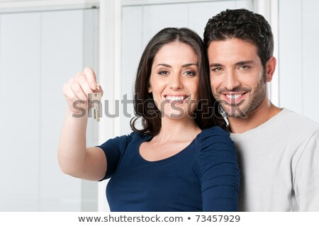 Сток-фото: Key With House Shows Home Security