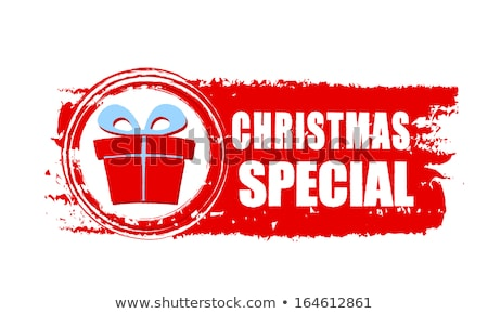 christmas special gift and present box on red drawn banner Stock photo © marinini