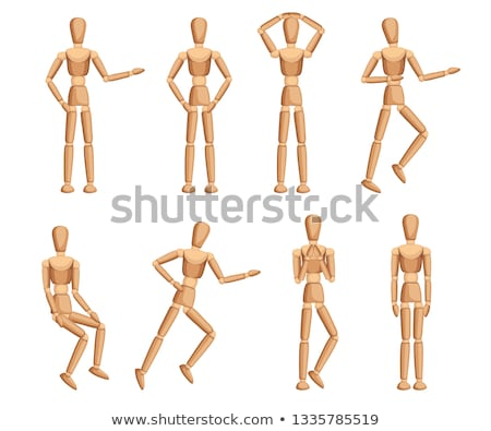 Stock photo: Drawing with wooden mannequin