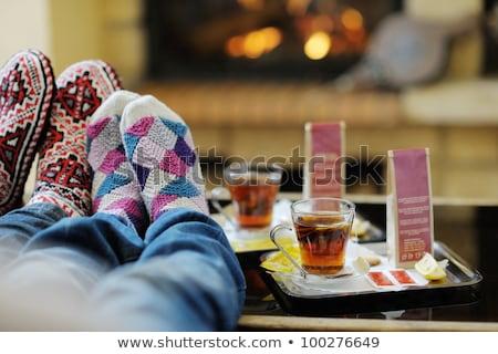 Stockfoto: Ontspannen · brand · huis · meisje · man