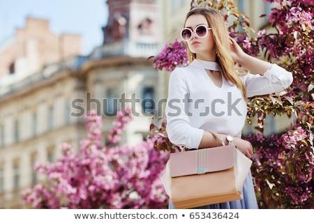 encantador · sorridente · jovem · empresária · óculos - foto stock © amok