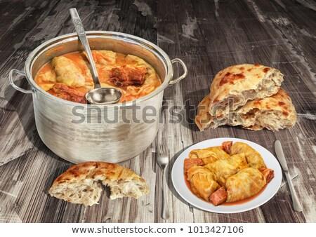 Stockfoto: Soep · tabel · gescheurd · brood · rollen · witte