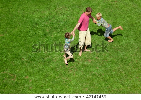 Two boys play with the adult a lawn. The top view. Stock photo © Paha_L
