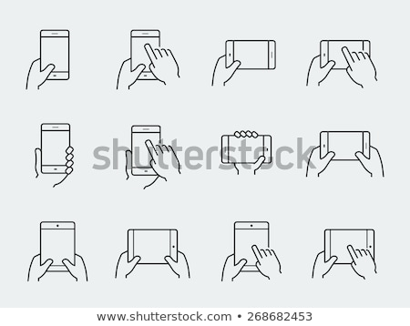 Touchscreen Tablet line Symbol Web mobile Stock foto © RAStudio