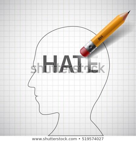silgi · kelime · nefret · kâğıt · sevmek · okul - stok fotoğraf © nito