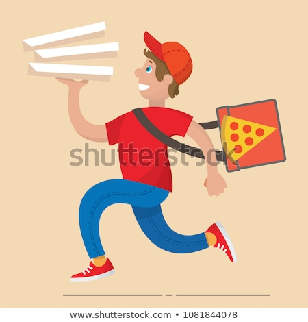 Pizza livraison garçon carton cases Photo stock © vectorikart