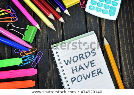 woorden · macht · tekst · notepad · business · kantoor - stockfoto © fuzzbones0